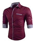 cheap Men's Shirts-Men's Active / Street chic Cotton Shirt - Color Block Classic Collar / Long Sleeve
