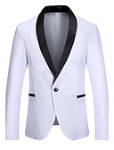 cheap Men's Blazers & Suits-Men's Party / Work / Weekend Simple / Casual Spring, Fall, Winter, Summer Regular Blazer, Solid Colored / Color Block V Neck Long Sleeve Cotton / Polyester White / Black / Red M / L / XL / Slim