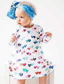 billige Babykjoler-Baby Jente Aktiv Avslappet / Ut på byen Hjerte / Ferie / Klassisk Langermet Bomull Kjole Hvit / Søtt