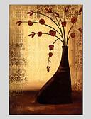 tanie Sukienki dla dziewczynek-Hang-Malowane obraz olejny Ręcznie malowane - Kwiatowy / Roślinny Nowoczesny Brezentowy / Rozciągnięte płótno