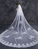 cheap Evening Dresses-Two-tier Lace Applique Edge Bridal Wedding Wedding Veil Chapel Veils Cathedral Veils 53 Lace Lace Tulle