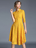 זול שמלות נשים-צווארון חולצה עד הברך אחיד - שמלה גזרת A בגדי ריקוד נשים