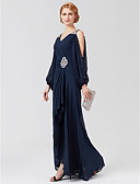cheap Cocktail Dresses-A-Line V Neck Asymmetrical Chiffon Mother of the Bride Dress with Beading / Sash / Ribbon / Pleats by LAN TING BRIDE® / Illusion Sleeve