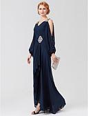 olcso Örömanya ruhák-A-vonalú V-alakú Aszimmetrikus Sifon Örömanya ruha val vel Gyöngydíszítés / Pántlika / szalag / Rakott által LAN TING BRIDE® / Illúzió