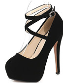 preiswerte Damen Röcke-Damen Schuhe Nubukleder Frühling / Herbst Komfort / Pumps High Heels Stöckelabsatz Schwarz / Rot / Blau