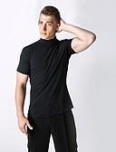cheap Latin Dance Wear-Latin Dance Tops Men's Performance Spandex Ruffles Short Sleeve Natural Top