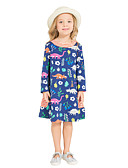 cheap Girls' Tops-Girl's Daily Holiday Dress, Cotton All Seasons Long Sleeves Cute Casual Navy Blue