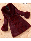 cheap Women's Fur Coats-Women's Going out Street chic Faux Fur Fur Coat - Solid Colored, Fur Trim V Neck / Fall / Winter