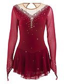 cheap Ice Skating Dresses , Pants & Jackets-Figure Skating Dress Women's / Girls' Ice Skating Dress Burgundy Rhinestone High Elasticity Performance Skating Wear Handmade Jeweled /