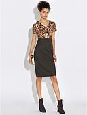 baratos Vestidos Plus Size-Mulheres Tamanhos Grandes Para Noite Moda de Rua Tubinho Vestido Leopardo Decote V Médio