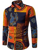 cheap Men's Shirts-Men's Club Boho Slim Shirt - Tribal Print Spread Collar / Long Sleeve