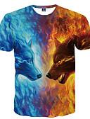 זול סוודרים וקרדיגנים לגברים-חיה צווארון עגול בסיסי מועדונים טישרט - בגדי ריקוד גברים דפוס זאב / שרוולים קצרים