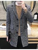 cheap Men's Shirts-Men's Chinoiserie Long Coat - Polka Dot, Retro Shirt Collar / Long Sleeve