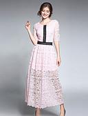 זול שמלות נשים-מקסי אחיד / קולור בלוק - שמלה תחרה בגדי ריקוד נשים