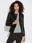 cheap Women's Leather Jackets-Women's Simple Casual Plus Size Leather Jacket - Solid Colored, Pure Color
