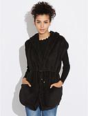 cheap Women's Fur & Faux Fur Coats-Women's Basic Cotton Vest - Solid Colored Stand