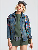 cheap Women's Denim Jackets-Women's Modern / Contemporary Denim Jacket - Letter, Print Shirt Collar