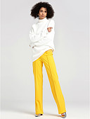 cheap Women's Pants-Women's Street chic Wide Leg Pants - Solid Colored Pure Color High Rise / Spring / Fall / Going out / Work