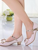 cheap Flower Girl Dresses-Girls' Shoes PU Spring Tiny Heels for Teens Heels Bowknot for White / Pink
