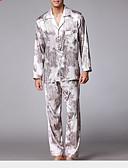 זול פיג'מות וחלוקים לגברים-בגדי ריקוד גברים צווארון חולצה חליפות פיג'מות - דפוס