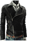 cheap Men's Jackets & Coats-Men's Simple Faux Leather Leather Jacket - Solid Colored, Oversized Shirt Collar / Long Sleeve