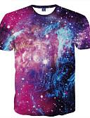 abordables Camisetas y Tops de Hombre-Hombre Básico Discoteca Estampado Camiseta, Escote Redondo Delgado Galaxia / Manga Corta