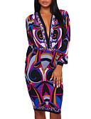 cheap Print Dresses-Women's Party / Club Boho Bodycon Dress - Color Block Deep V Spring Purple M L XL / Sexy / Skinny