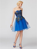 cheap Prom Dresses-Ball Gown Sweetheart Neckline Short / Mini Lace Over Tulle Cocktail Party Dress with Pattern / Print / Pleats by TS Couture®