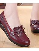 preiswerte Herren-Hosen und Shorts-Damen Schuhe Leder Frühling / Herbst Komfort Loafers & Slip-Ons Keilabsatz Schwarz / Rot