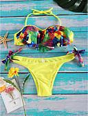 abordables Sombreros de mujer-Mujer Encaje Floral Amarillo Tanga Tankini Bañadores - Varios Colores Estampado S M L