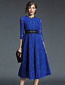 cheap Women's Dresses-Women's Going out A Line Dress - Solid Colored Lace