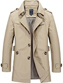 cheap Men's Jackets & Coats-Men's Vintage Long Trench Coat-Solid Colored Shirt Collar