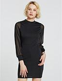 olcso Női ruhák-Női Bodycon Ruha Egyszínű Térd feletti Terített nyak Magas derekú