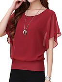 저렴한 블라우스-여성용 솔리드 플러스 사이즈 주름장식 - 티셔츠 퍼플 XXL / 여름