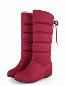 preiswerte Damenhüte-Damen Schuhe Nubukleder Frühling / Herbst Komfort / Schneestiefel Stiefel Flacher Absatz Mittelhohe Stiefel Schwarz / Braun / Rot