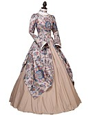 cheap Men's Pants & Shorts-Rococo Victorian Costume Dress Party Costume Masquerade Rainbow Vintage Cosplay 100% Cotton Long Sleeve Puff / Balloon Sleeve Ankle Length Halloween Costumes / Floral