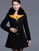 זול שמלות נשים-קולור בלוק צווארון חולצה מעיל - בגדי ריקוד נשים צמר