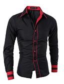 baratos Camisas Masculinas-Homens Camisa Social Sólido Algodão / Por favor, sempre escolha um número maior que o seu número normal. / Manga Longa