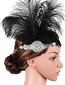 cheap Gloves-The Great Gatsby Flapper Headband 1920s Black Feather Cosplay Accessories Masquerade