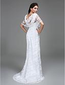 preiswerte Hochzeitskleider-Eng anliegend U-Ausschnitt Boden-Länge Spitze Maßgeschneiderte Brautkleider mit Spitze durch LAN TING BRIDE® / Durchsichtig