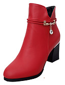 זול חולצה-בגדי ריקוד נשים נעליים PU אביב / סתיו נוחות מגפיים עקב עבה שחור / אדום
