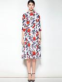 olcso Női ruhák-Női Boho Swing Ruha - Nyomtatott, Virágos Állógallér