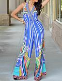 رخيصةأون جمبسوت ورومبرز للنساء-بذلة نسائي ألوان متناوبة بسيط V رقبة قطن مناسب للعطلات / الربيع / الصيف