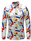 cheap Men's Shirts-Men's Plus Size Slim Shirt - Geometric / Color Block Print Classic Collar / Long Sleeve