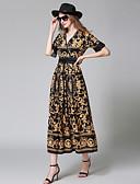 cheap Women's Dresses-Seduction Gold House Women's Going out Street chic Shift Dress - Floral Geometric Fur Trim Maxi V Neck