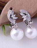 hesapli Gece Elbiseleri-Kadın's Kübik Zirconia Klipsli Küpeler - İmitasyon İnci, Gümüş Kaplama Top Moda Beyaz Uyumluluk Düğün Doğumgünü
