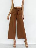 זול מכנסיים לנשים-בגדי ריקוד נשים רגל רחבה מכנסיים - גיזרה גבוהה אחיד
