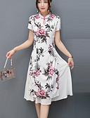 זול שמלות נשים-עומד עד הברך פרחוני / גיאומטרי - שמלה גזרת A / נדן בוהו / סגנון סיני עבודה בגדי ריקוד נשים