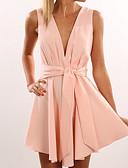 baratos Vestidos de Mulher-Mulheres Evasê Vestido Sólido Decote V Cintura Alta Acima do Joelho / Verão