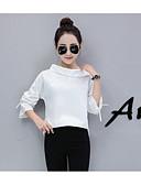 baratos Camisas Femininas-Mulheres Camisa Social Sólido Listrado Algodão Colarinho de Camisa